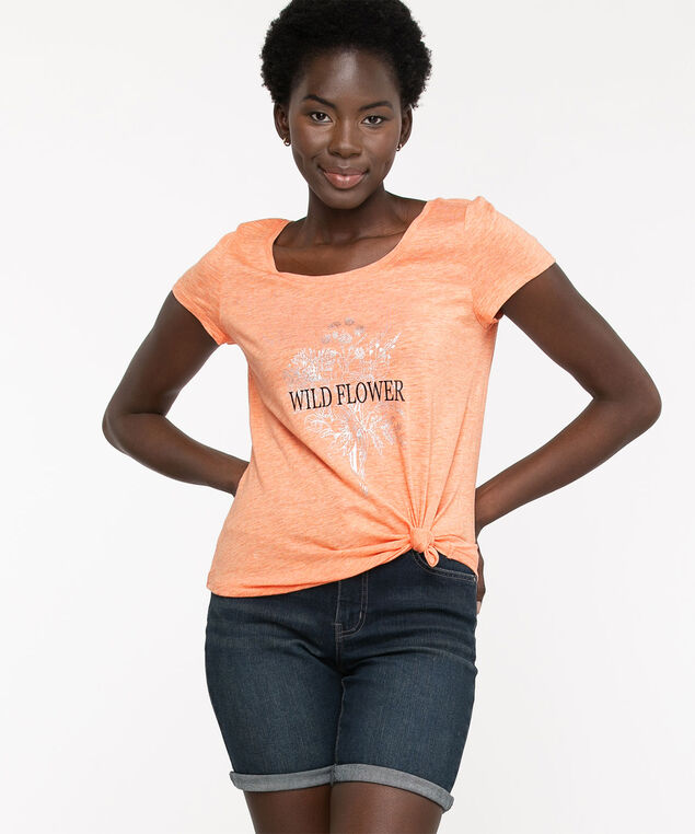 Scoop Neck Shirttail Graphic Tee, Tawny Orange Floral