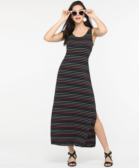 Multi-Coloured Stripe Maxi Dress, Black/Teal/Pink/Yellow, hi-res