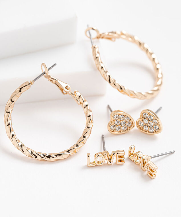 Hoop & Stud Earring 3-Pack, Gold