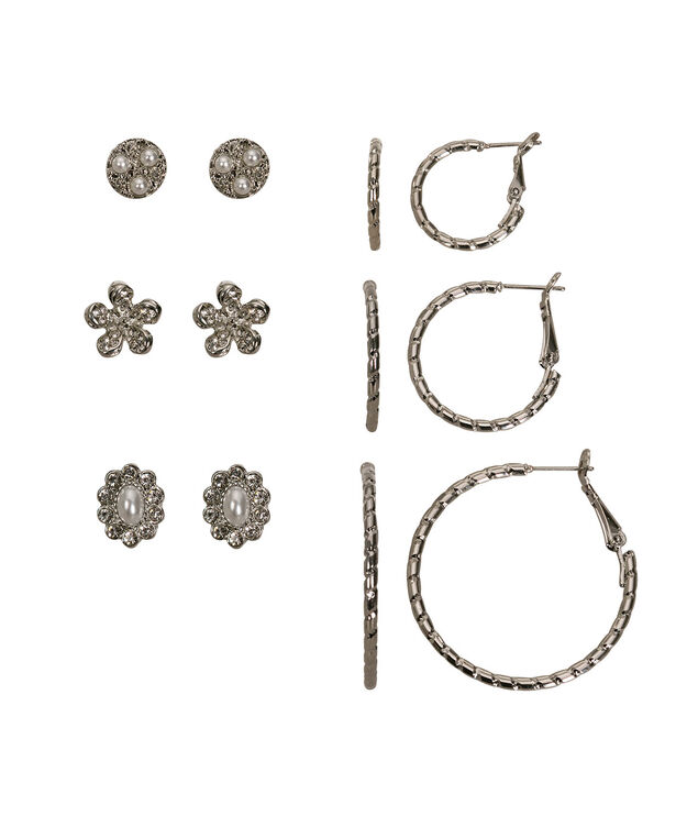 Hoops & Studs Earring Set, White/Rhodium, hi-res
