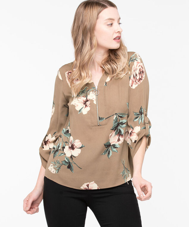 Zipper Front V-Neck Blouse, Fawn/Misty Rose, hi-res