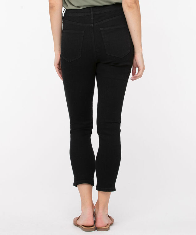 Distressed High Rise Ankle Jegging, Black, hi-res