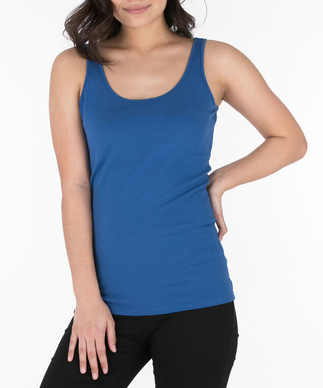 Scoop Neck Cami, Cadet Blue, hi-res