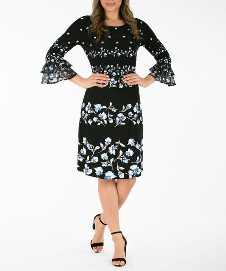 Flounce Sleeve Dress, Black/Pearl/Blue, hi-res