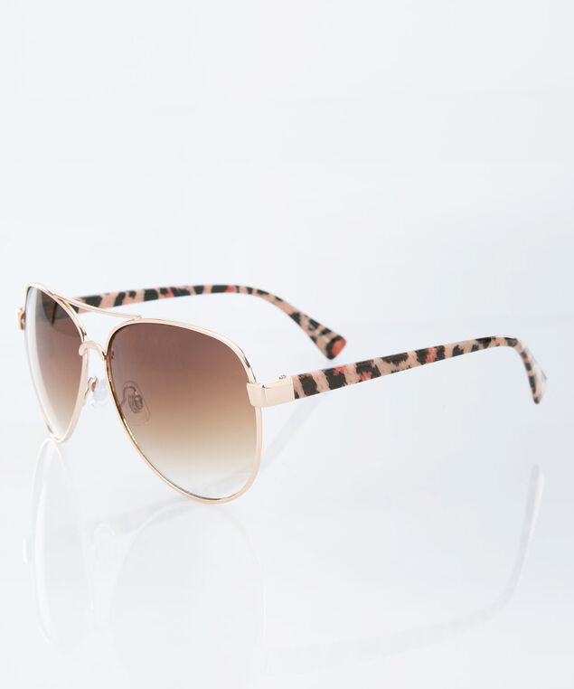 Animal Print Aviator Sunglasses, Brown/Gold, hi-res
