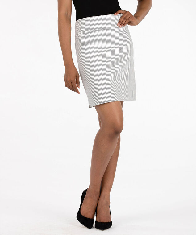 Microtwill Jacquard Pull On Skirt, Pearl/Black, hi-res