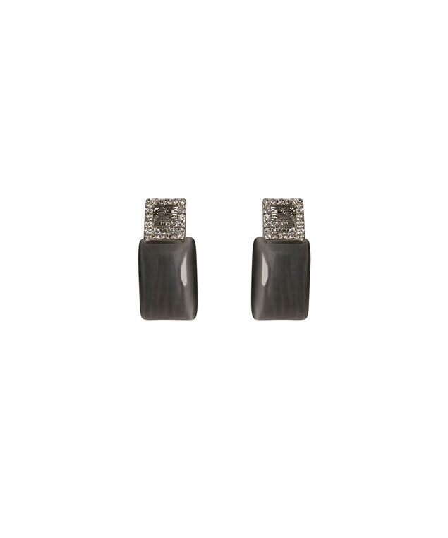 Crystal & Cateye Stone Earring, Grey/Rhodium, hi-res
