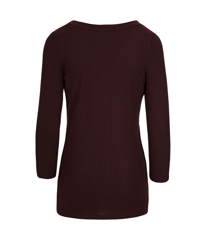 Studded Henley Knit Top, Wine, hi-res