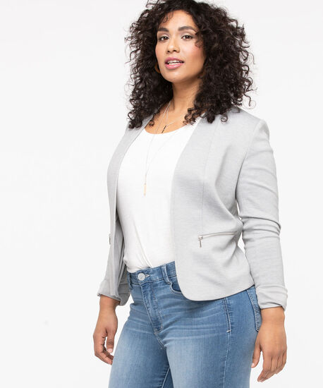 Ponte Zipper Pocket Open Blazer, Light Grey, hi-res
