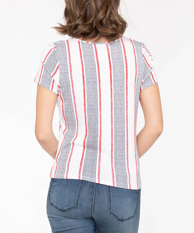 Striped Knot Front Keyhole Top, True White/Summer Navy/Hibiscus, hi-res