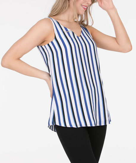 Criss-Cross Double-V Sleeveless Blouse, White/Cerulean/Black, hi-res