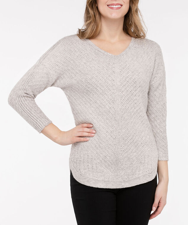 V-Neck Rounded Hem Sweater, Almond, hi-res