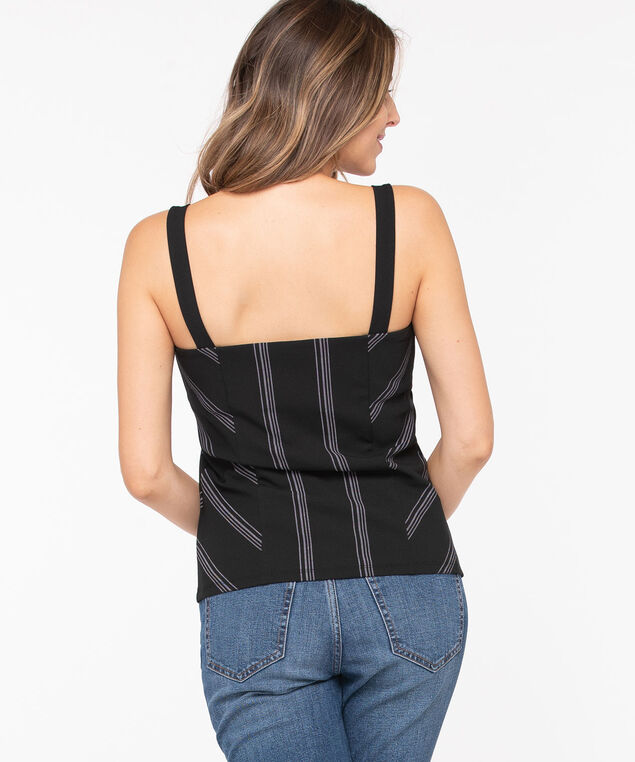 Striped Sleeveless Square Neck Top, Black/Light Grey, hi-res