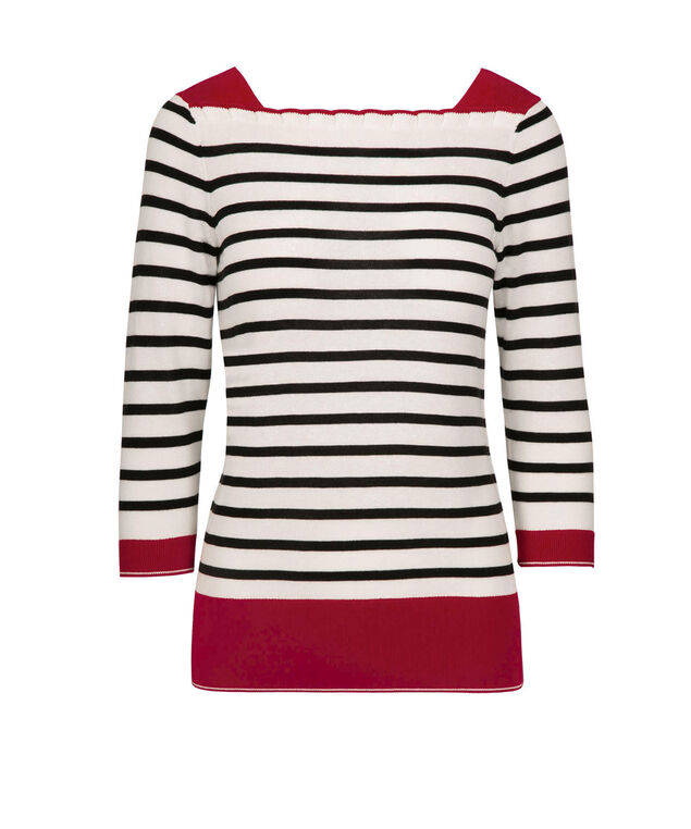 Striped Ruffle-Neck Pullover, Black/Red/Pearl, hi-res