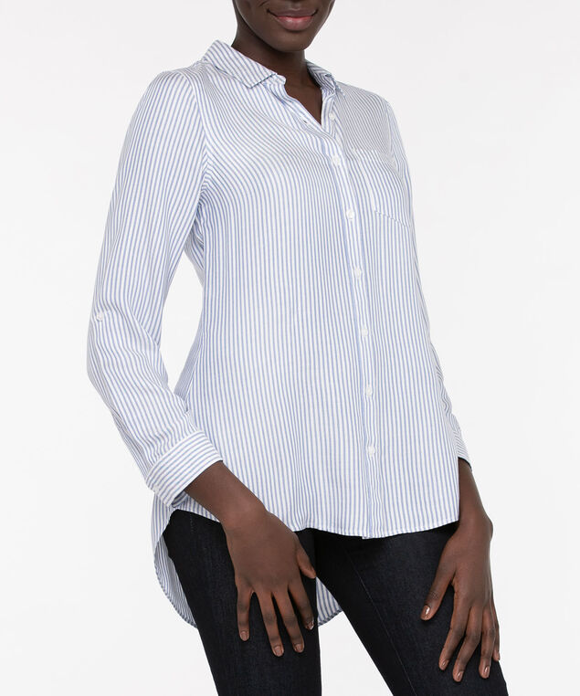Striped Button Front Collared Shirt, Light Blue/Pearl, hi-res