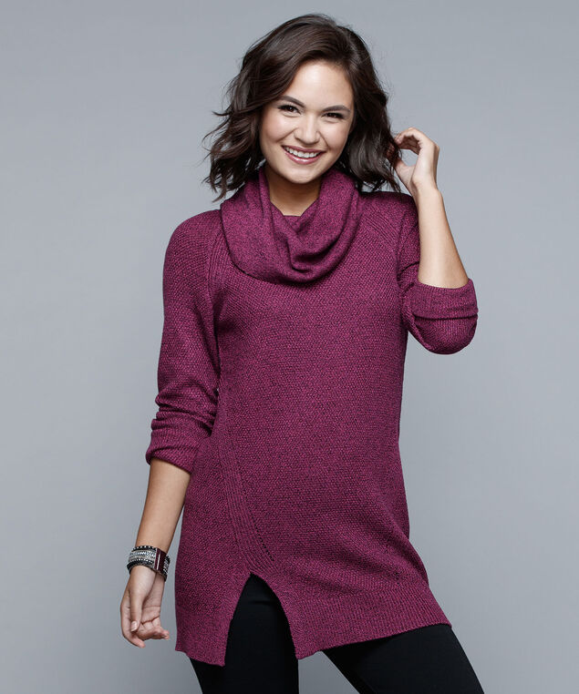 Cowl Neck Pullover Sweater, Pink, hi-res