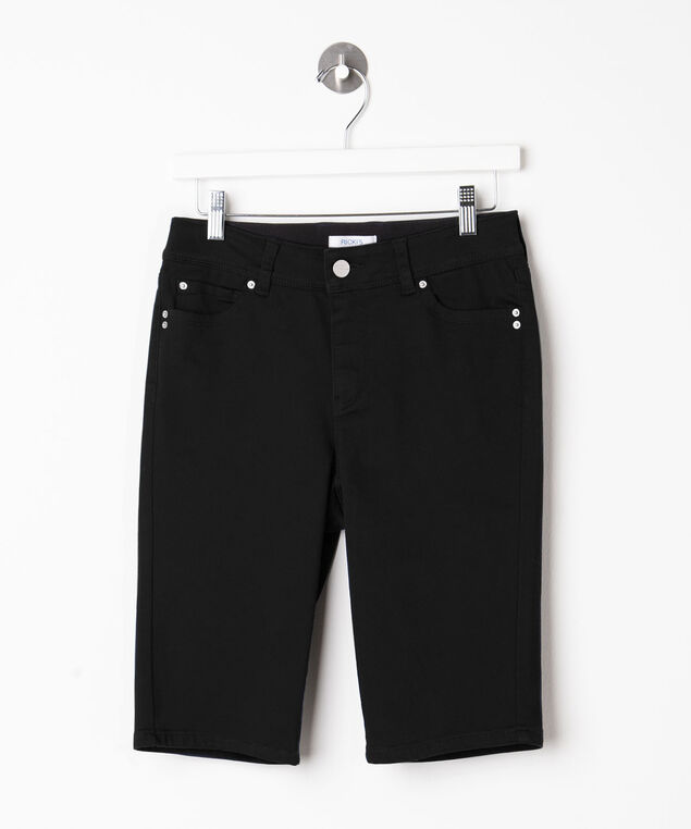 Fly Front Bermuda Short, Black, hi-res