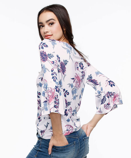 3/4 Flounce Sleeve Top, White/Pink/Blue, hi-res