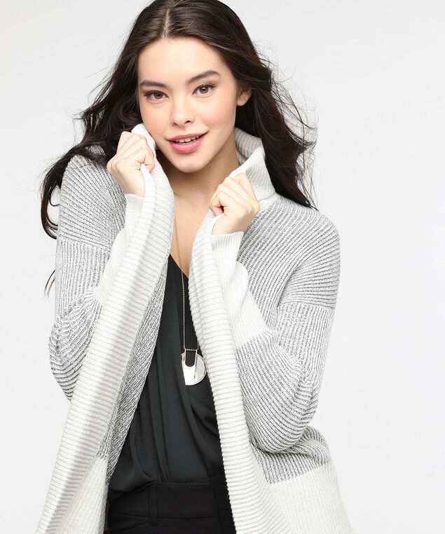 Colour Block Ribbed Open Cardigan, Light Heather Grey/Pearl, hi-res