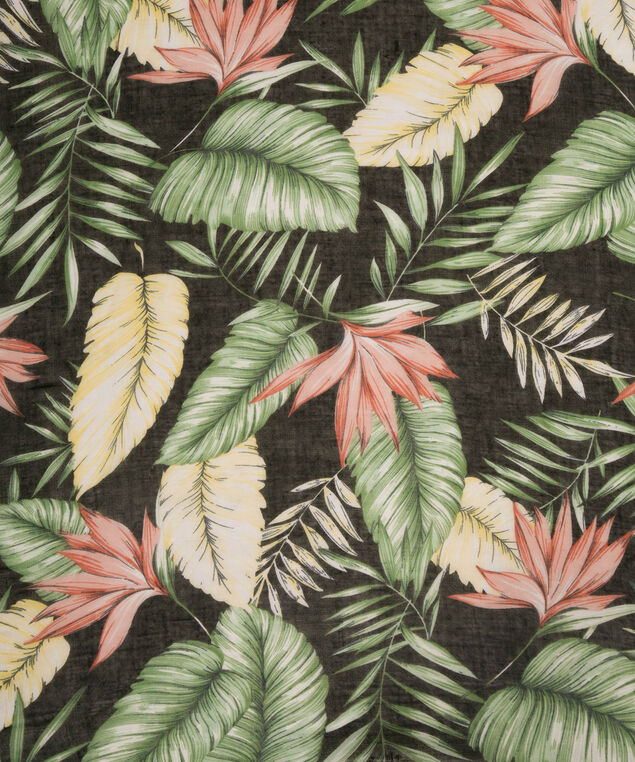 Tropical Print Oblong Scarf, Black/Pink/Green, hi-res