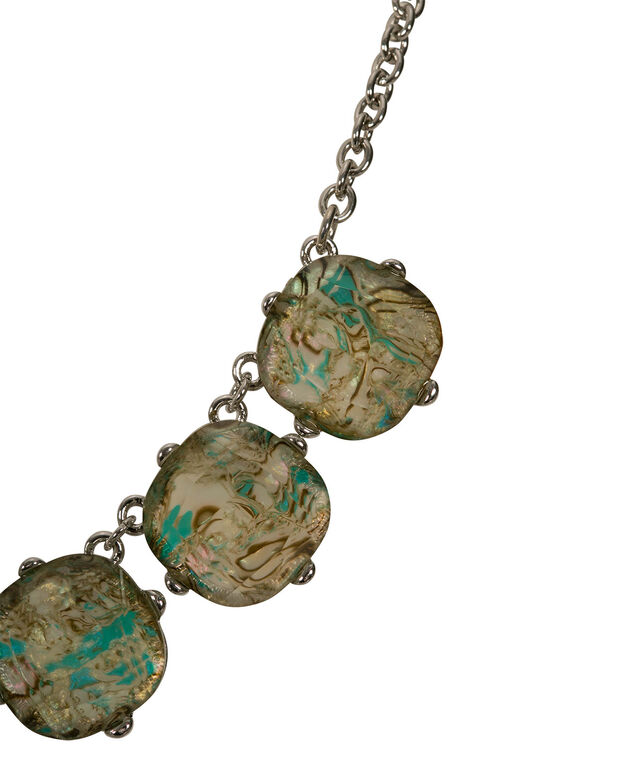 Faceted Stone Mini Statement Necklace, Teal/Rhodium, hi-res