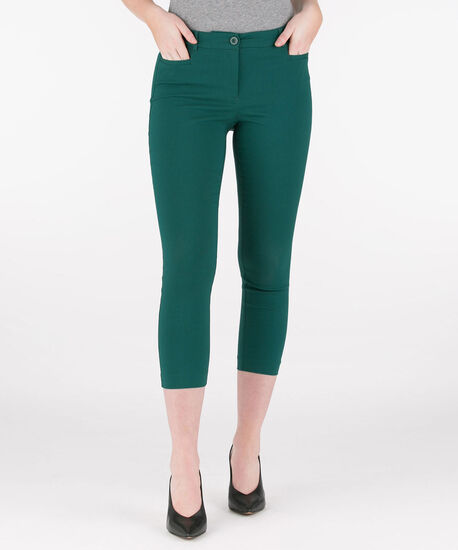 Microtwill Fly Front Crop Pant, Emerald, hi-res