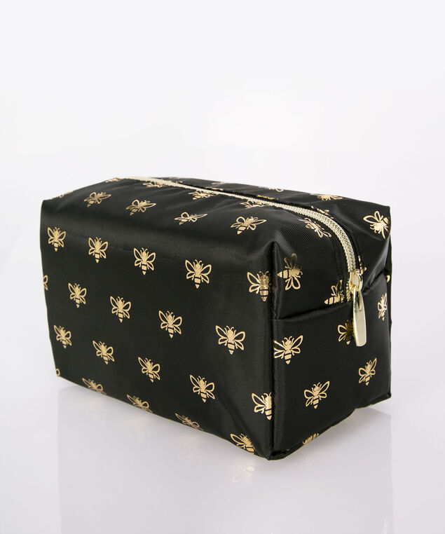 Bee Print Cosmetic Bag, Gold/Black, hi-res