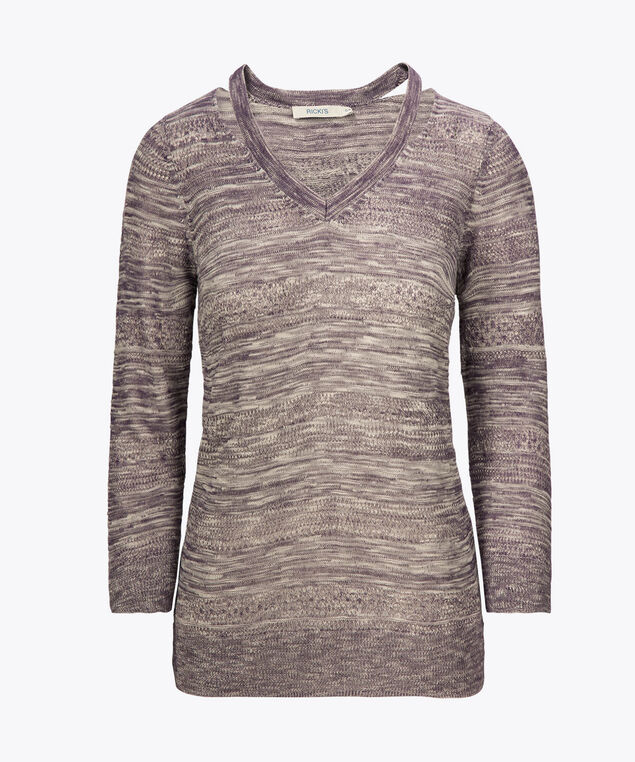 Cutout V-Neck Pointelle Pullover, Violet/True White, hi-res