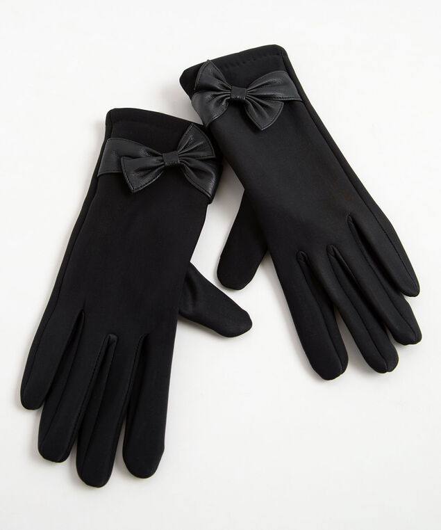 Faux Leather Bow Texting Glove, Black, hi-res