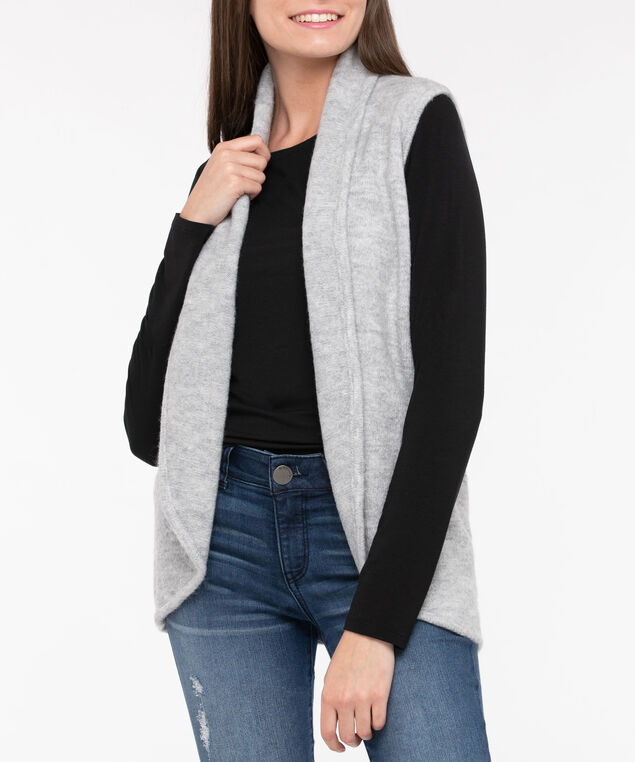 Plush Open Sweater Vest, Light Heather Grey, hi-res