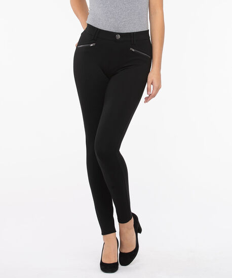 Luxe Ponte Button Front Skinny Leg, Black, hi-res
