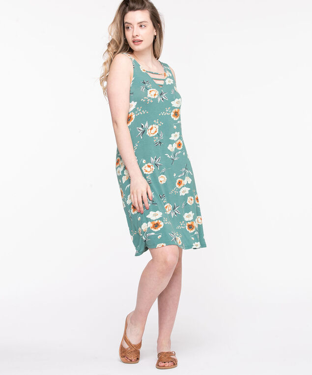 Ladder Trim Swing Dress, Turquoise