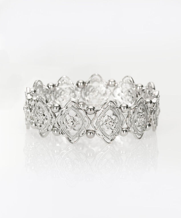 Filigree & Glitter Paper Stretch Bracelet, Rhodium, hi-res