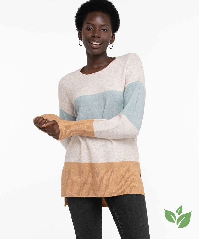 Eco-Friendly Colour Block Sweater, Oatmeal/Blue/Brown