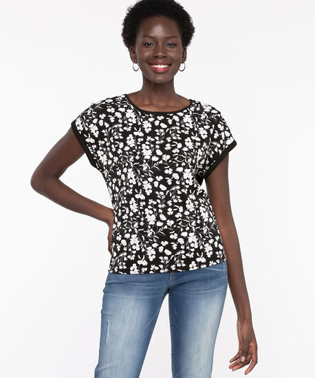 Extended Sleeve Mixed Media Top, Black/Snow White Floral, hi-res