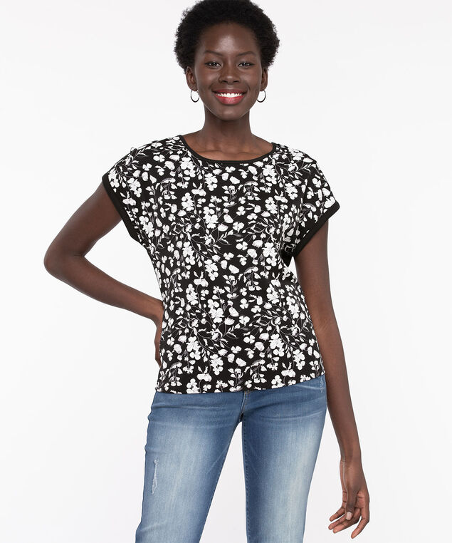 Extended Sleeve Mixed Media Top, Black/Snow White Floral