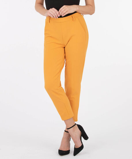 Scuba Crepe Pull On Cropped Trouser, Mustard, hi-res