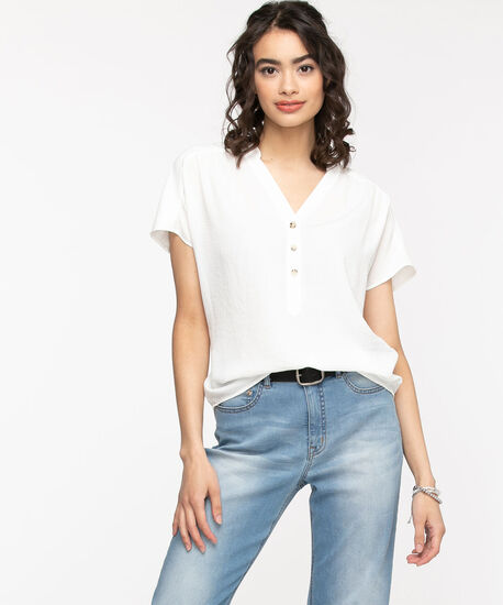 Extended Sleeve Henley Blouse, Snow White, hi-res