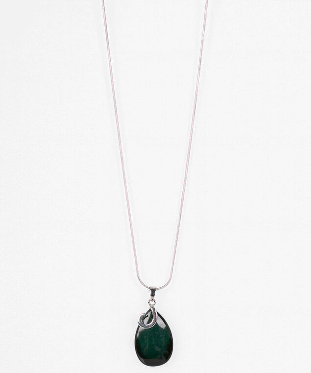 Cateye Swirl Frame Necklace, Deep Green/Rhodium, hi-res