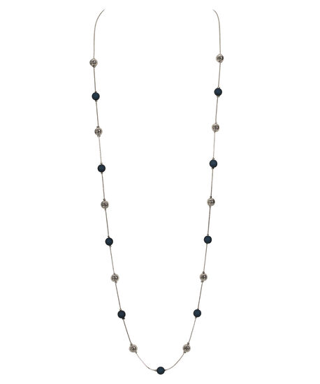 Stationed Bead Necklace, Ink Blue/Rhodium, hi-res