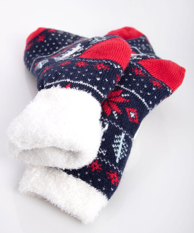 Fairisle Double Faced Sock, True Navy/Pearl/Crimson, hi-res