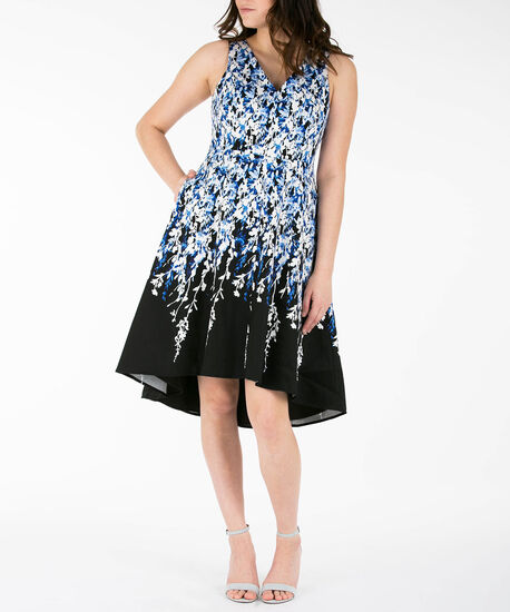 Sleeveless High-Low Dress, Blue/Black/Pearl, hi-res