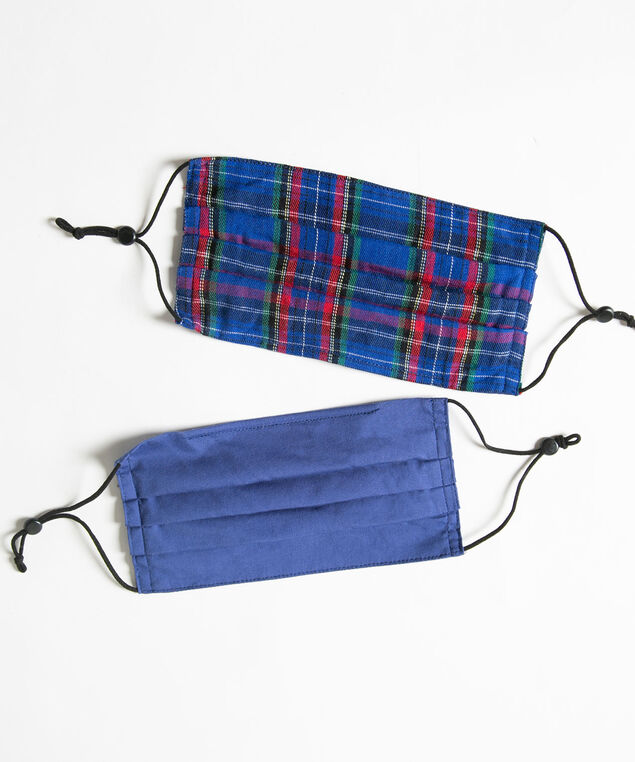 Plaid/Solid Face Mask 2-Pack, Blue