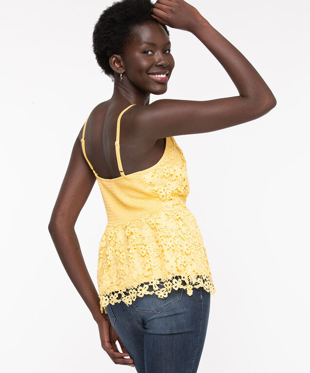 Yellow Strappy Lace Peplum Top, Yellow