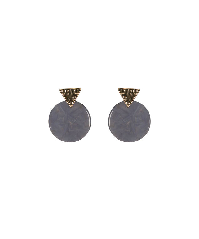 Hammered Metal & Resin Earring, Indigo/Soft Gold, hi-res