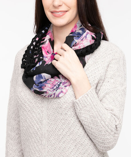 Knit to Woven Floral Eternity Scarf, Black/Bright Pink, hi-res