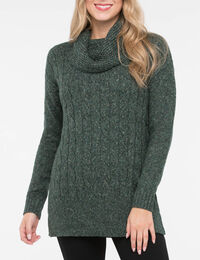 Cable Knit Cowl Neck Tunic Sweater