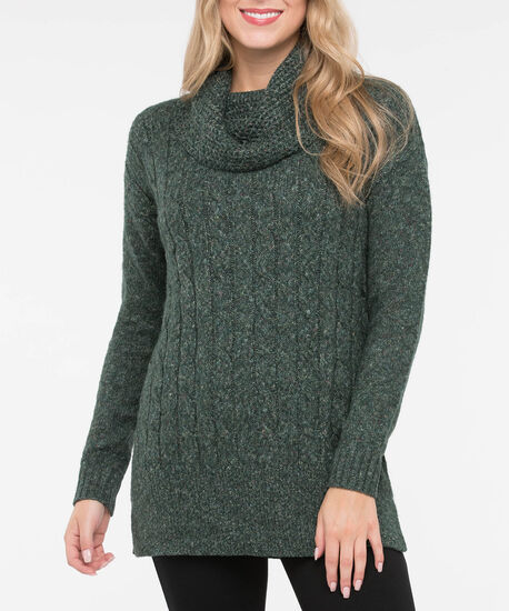 Cable Knit Cowl Neck Tunic Sweater, Ivy Mix, hi-res