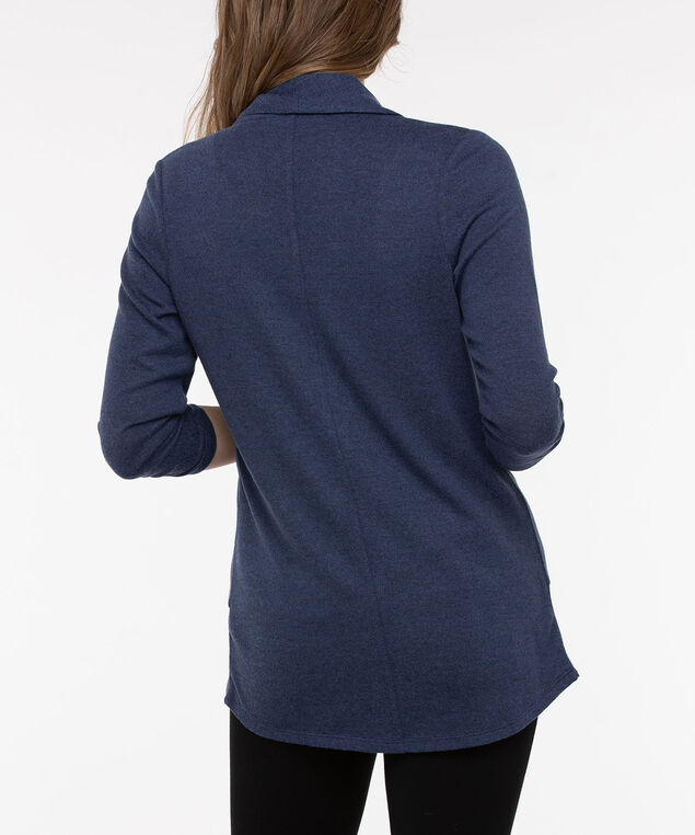 Speckled Shawl Collar Cardigan, Blue Fog Mix, hi-res