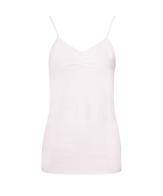 Strappy Ruched Neck Cami, True White, hi-res